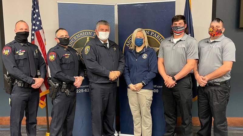Pictured from left to right: Deputy Daniel Haydel, Deputy Jamie Wolfe, Sheriff Bobby Webre,...
