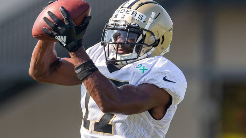 New Orleans Saints wide receiver Emmanuel Sanders (17) catches the ball during an NFL football...