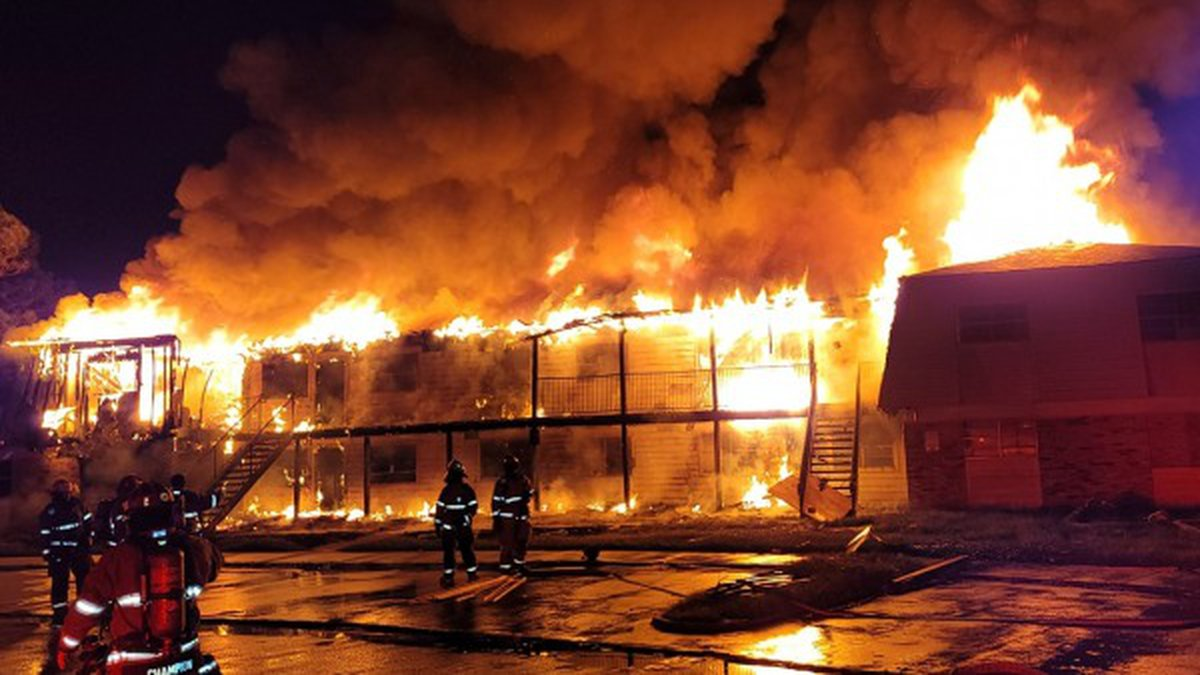 Lake Charles firefighters battle flames at Prejean Drive apartments