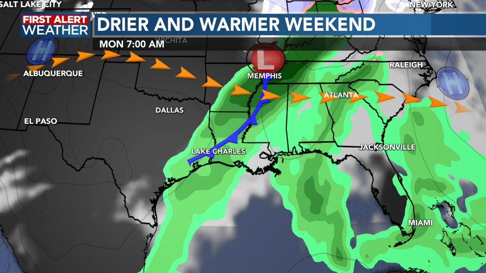 Our next cold front swings through Sunday night into Monday