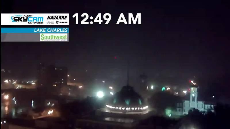 Lake Charles Skycam captures winds ahead of Laura
