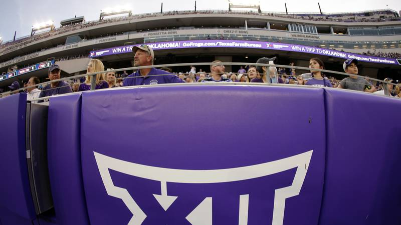 FILE - In this Saturday, Sept. 4, 2021, file photo, a Big 12 Conference logo is displayed on a...
