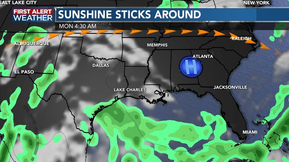 High pressure helps to keep us dry through the weekend