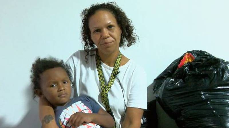 Natosha Cotlone and her daughter Hayden were among those with nowhere to stay due to flooding.