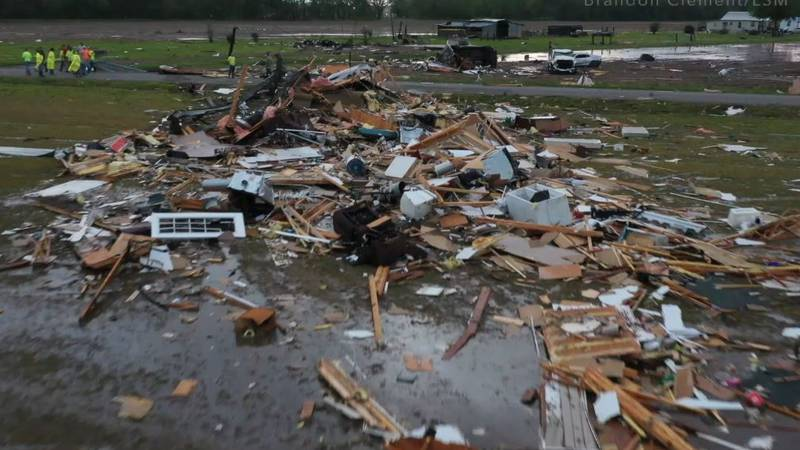A man was killed and seven other people were hurt when a possible tornado struck the St. Landry...