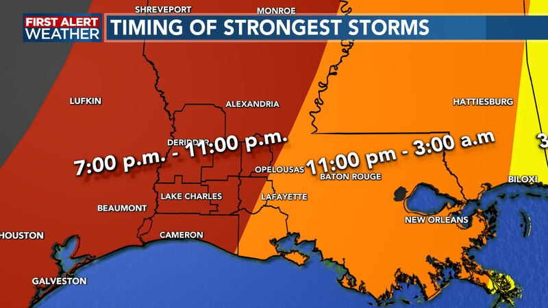 Strong storms possible between 7-11 p.m. tonight