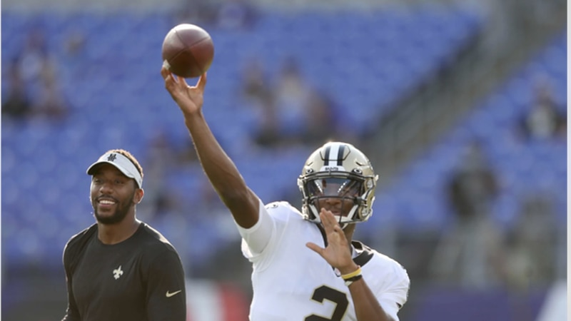 Jameis Winston relieves Taysom Hill in the first half. (Source: New Orleans Saints)