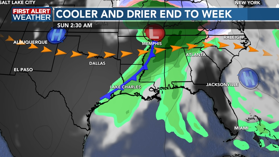 A cold front moves through Saturday night bringing cooler weather and some rain