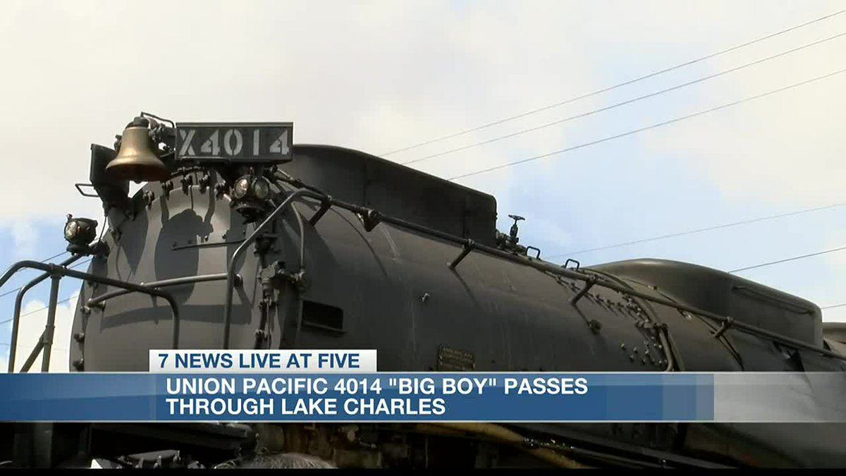 """Residents gather as Union Pacific 4014 """"Big Boy"""" passes through Lake Charles."""