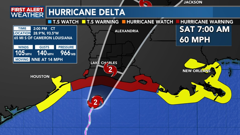 Hurricane Delta a little weaker with the latest update