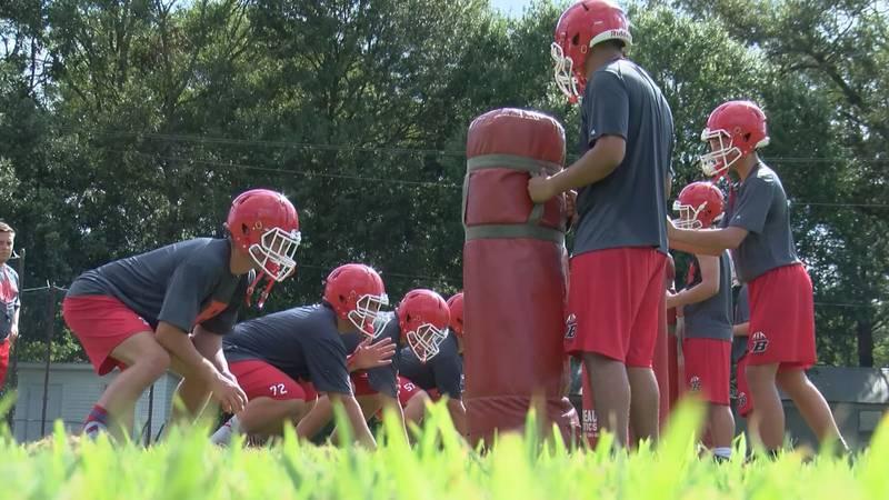 Basile High School practices ahead of the fall season.