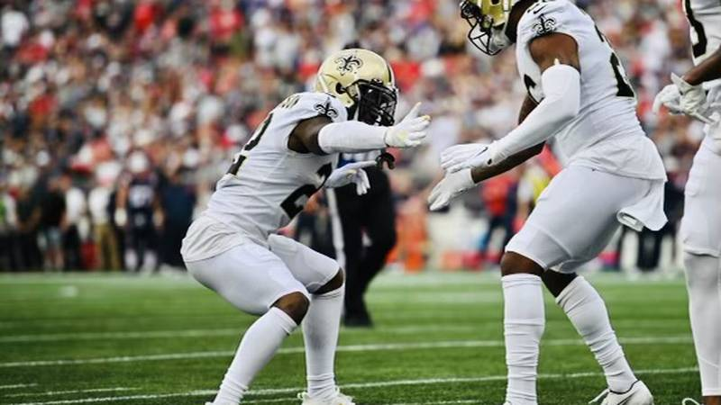 C.J. Gardner-Johnson and P.J. Williams celebrate a big defensive play at New England. (Source:...