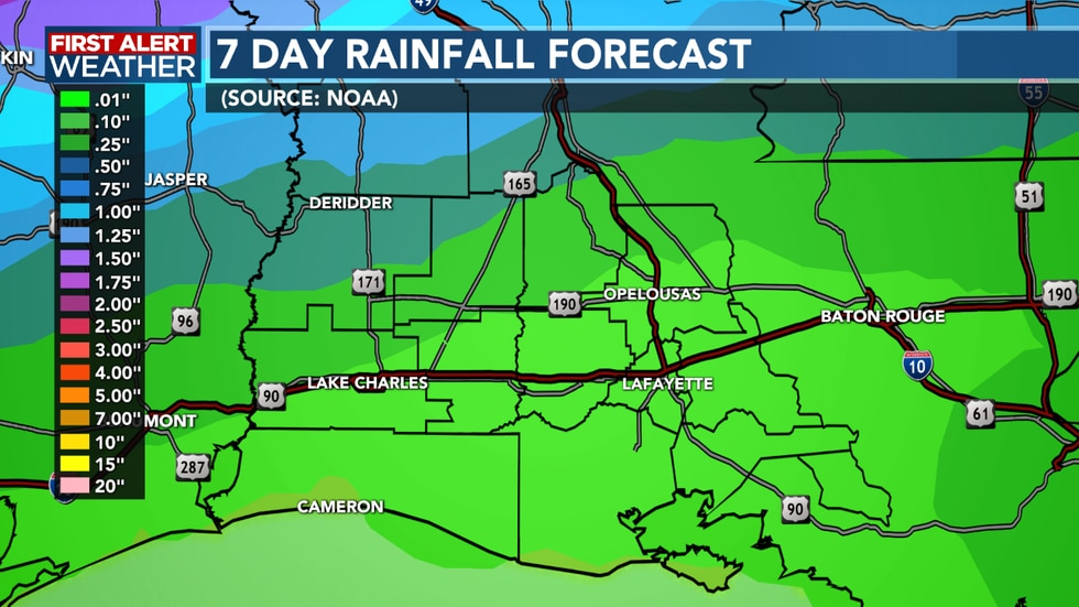 Rain totals will be on the lower side for areas further south, a little more to our north