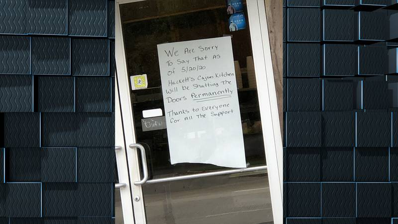 A sign at Hackett's Cajun Kitchen reads that the restaurant is permanently closed.