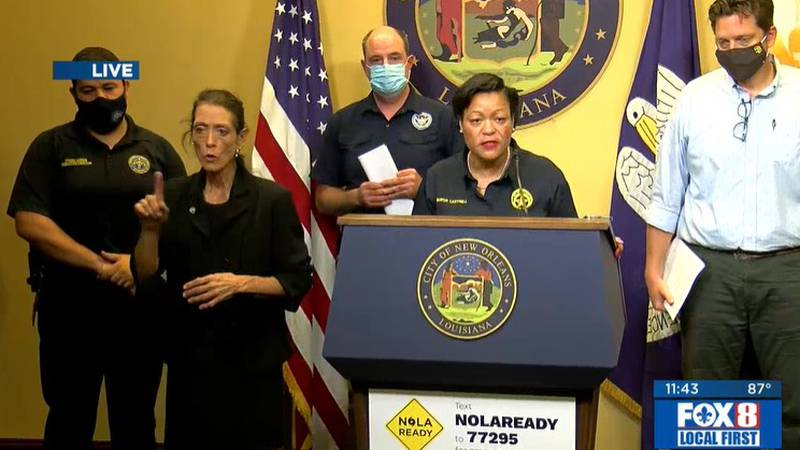 New Orleans Mayor LaToya Cantrell warned residents Saturday that they should evacuate before...