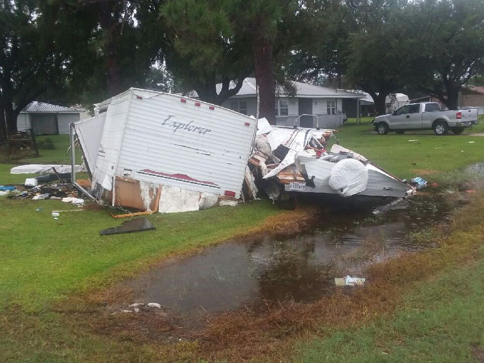 Tornado damage reported on Johnny Benoit Road and Everett Vincent Drive in Cameron. No injuries...