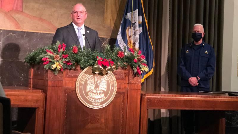 Gov. John Bel Edwards and Admiral Brett Giroir of the White House's Coronavirus Task Force...