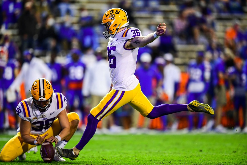 Cade York of the LSU Tigers during a game against the Florida Gators at Ben Hill Griffin...