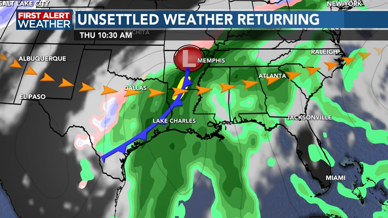 A few stronger storms will be possible with the front Wednesday