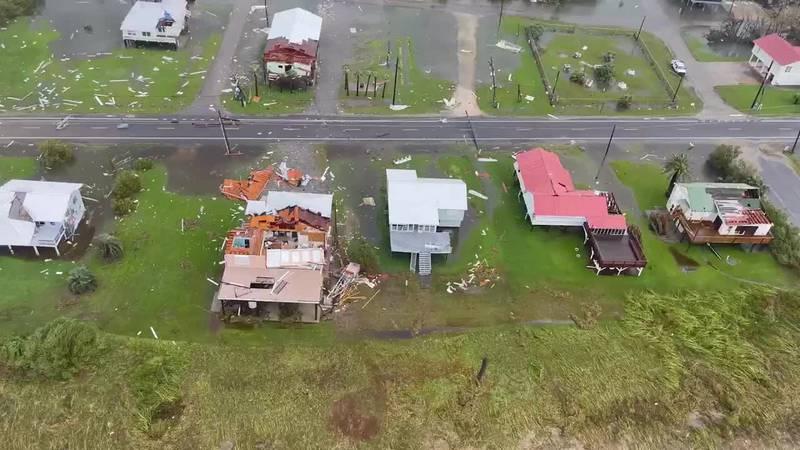 The Coast Guard conducts Hurricane Ida post-storm overflights along the Gulf Coast on August...