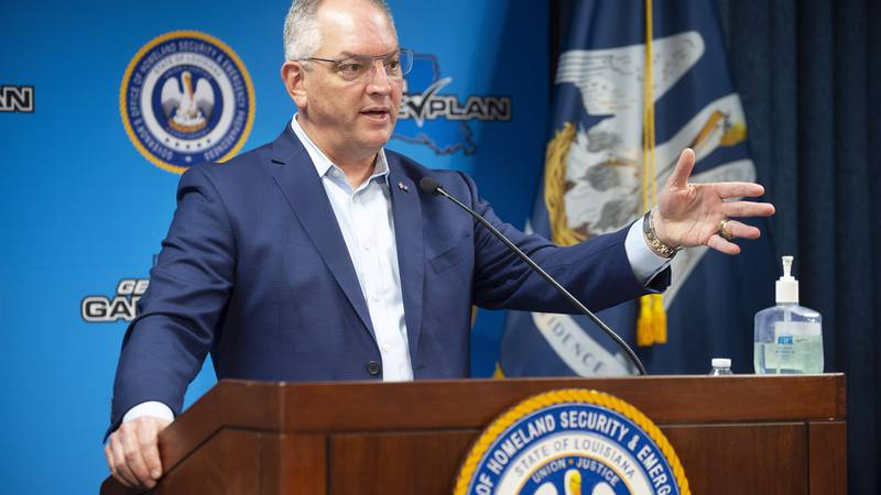 Louisiana Gov. John Bel Edwards makes remarks and answers questions during a news conference...