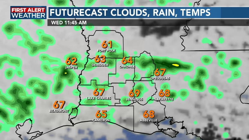 Scattered showers and storms make a return as a front lifts through