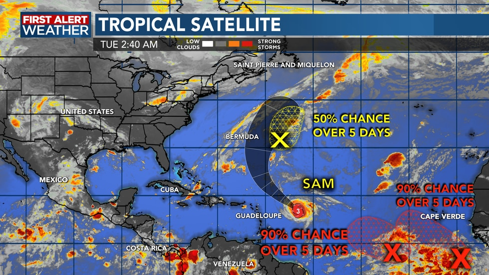 Several areas to monitor as well as Major Hurricane Sam