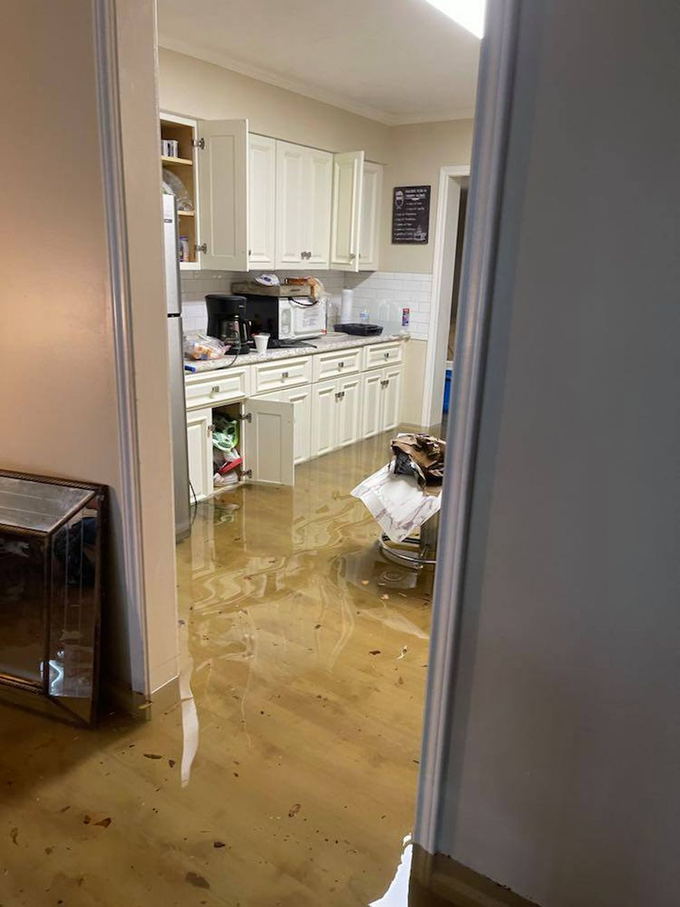 Inside one of the homes that the Fuller Center Disaster Rebuilders had finished repairing a...