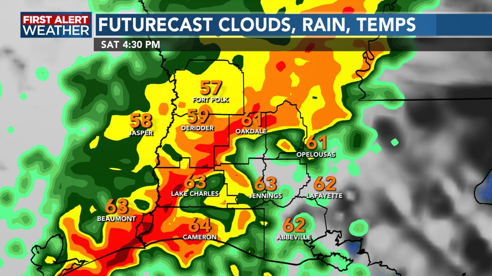 A line of heavy showers and storms Saturday afternoon