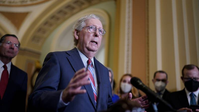 In this Sept. 14, 2021 photo, Senate Minority Leader Mitch McConnell, R-Ky., speaks to...