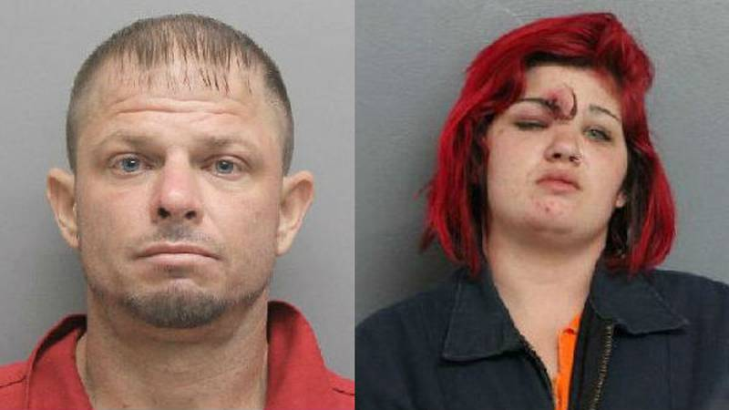 37-year-old Kenneth Benoit (L) and 25-year-old Dawn Baker (R) are accused of breaking into a...