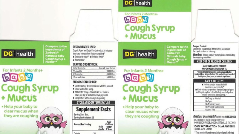 DG cough syrup recalled