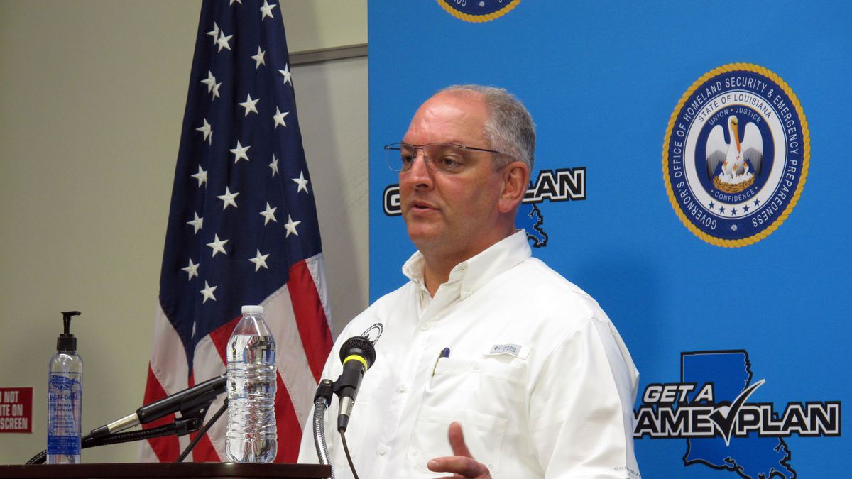 Louisiana Gov. John Bel Edwards speaks about Hurricane Delta's likely impact on his state, on...