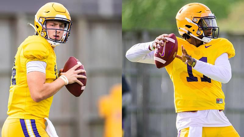 LSU quarterbacks Max Johnson (No. 14) and TJ Finley (No. 11)