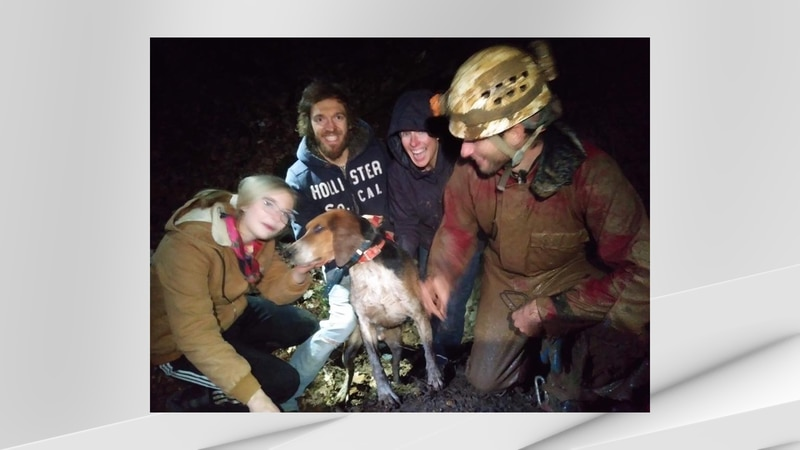 Cave rescuers banded together to get a dog lost in a cave back to safety early Sunday morning...