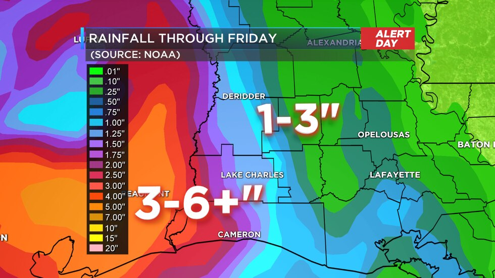 Forecast rain for SW Louisiana