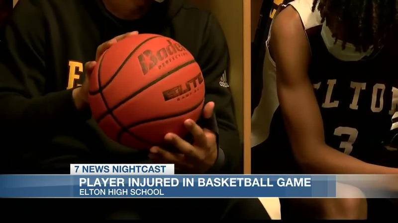 A high school basketball game took a turn Tuesday night when an Elton player was injured on the...