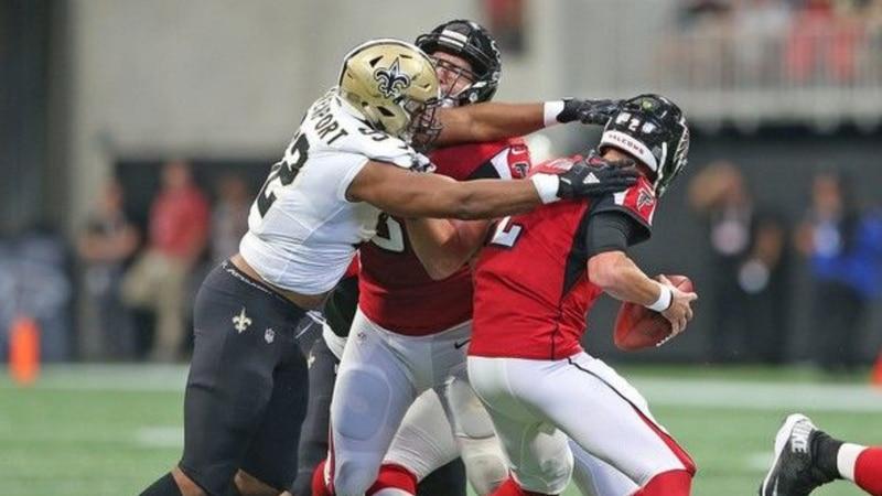 Marcus Davenport sacks Matt Ryan. (Source: Nola.com)