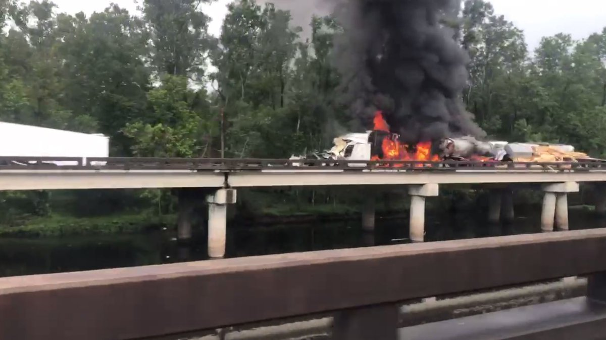 One body was found at the scene of a fiery wreck on I-10 W involving five 18-wheelers.