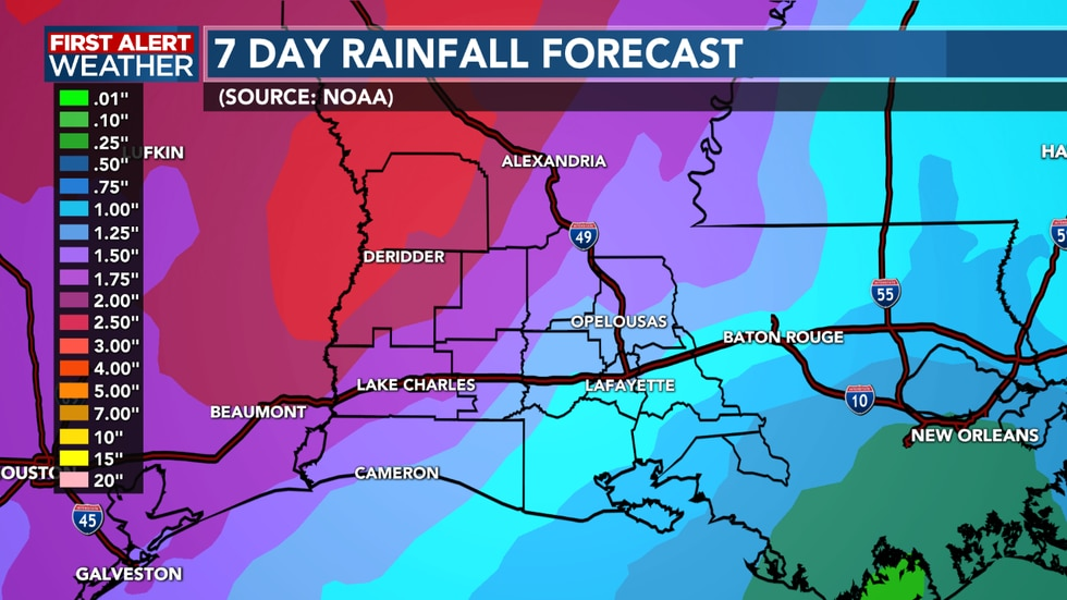 A couple inches of rain possible by late week