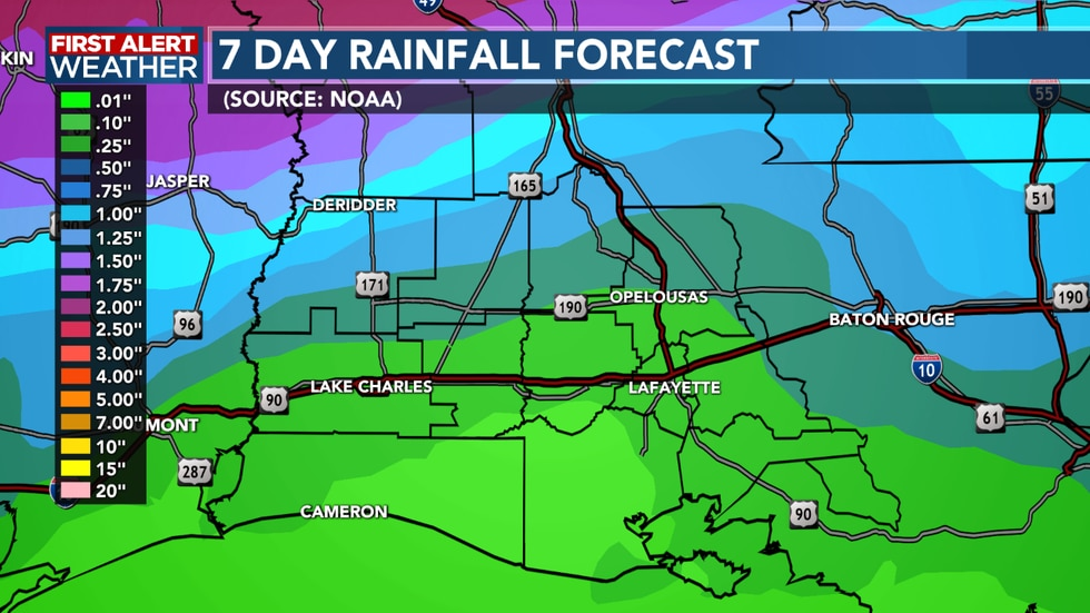 Rain is expected to move in Monday bringing around half an inch or so to SWLA