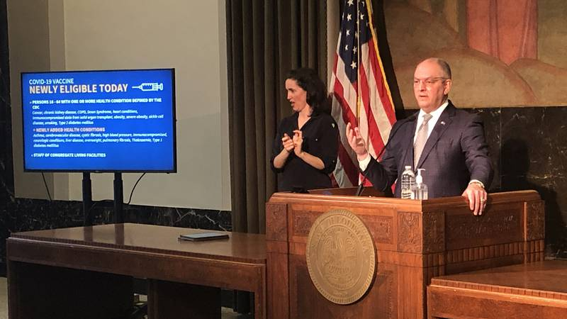 Gov. John Bel Edwards holds news conference on Louisiana's expansion of COVID-19 vaccine...