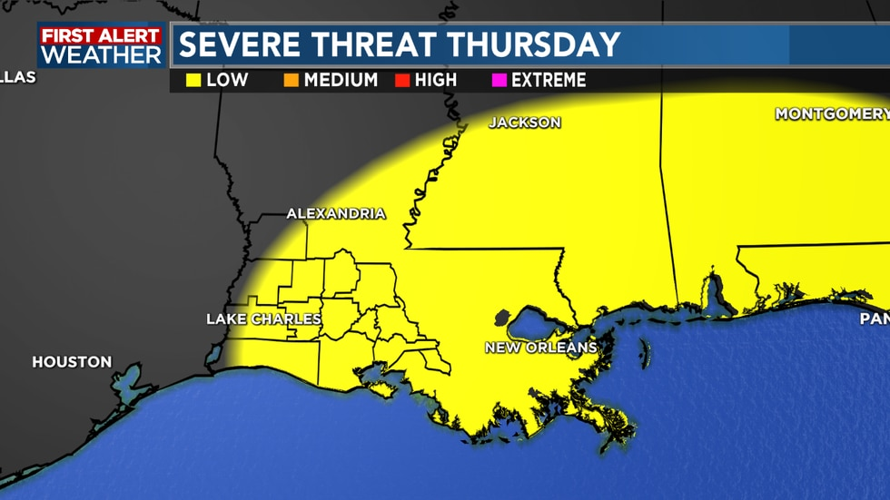 A risk for Severe weather will be in play for Thursday
