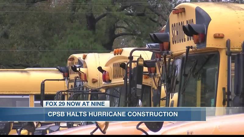 The Calcasieu Parish School Board halts hurricane construction.