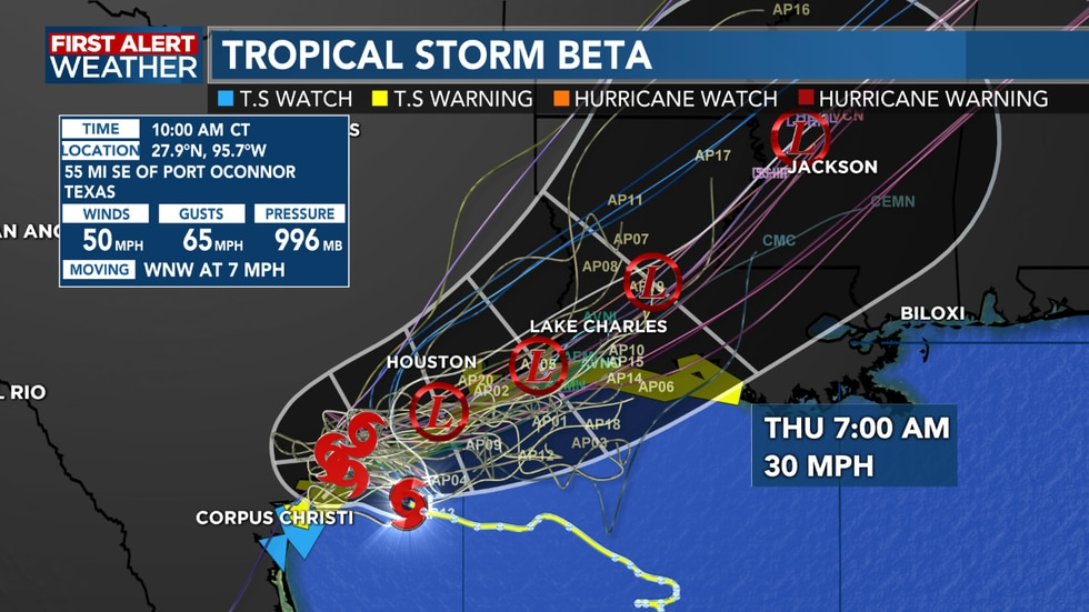 The track for Tropical Storm Beta remains the same as it turns to the northeast on Tuesday