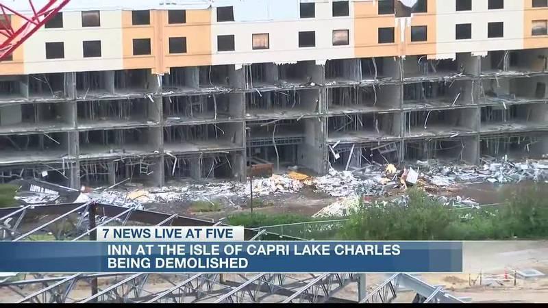 Inn at the Isle of Capri Lake Charles being demolished.