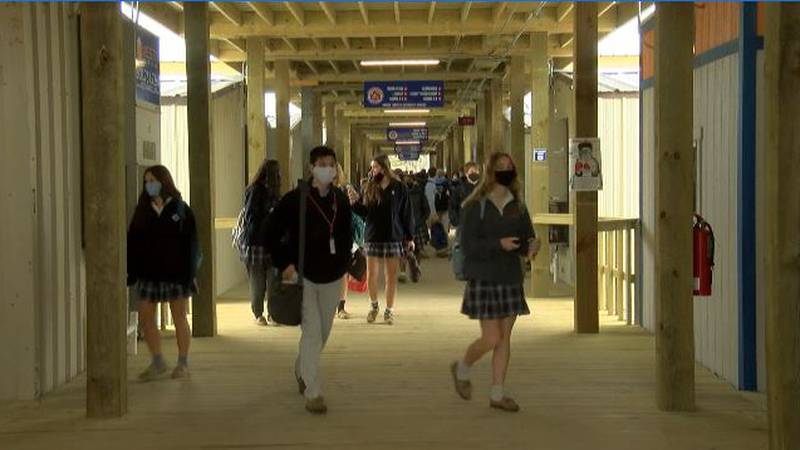 Students now attend school at St. Louis in temporary classrooms on Bank Street.