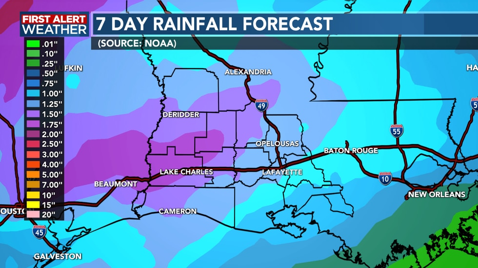 A couple of inches of rain possible into next week