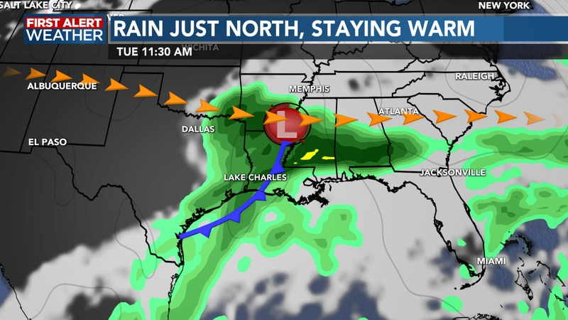 A cold front will push through Monday and into Tuesday bringing rain