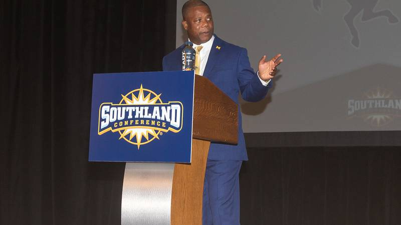 McNeese coach Frank Wilson addresses the crowd at the 2021 Southland Media Day.